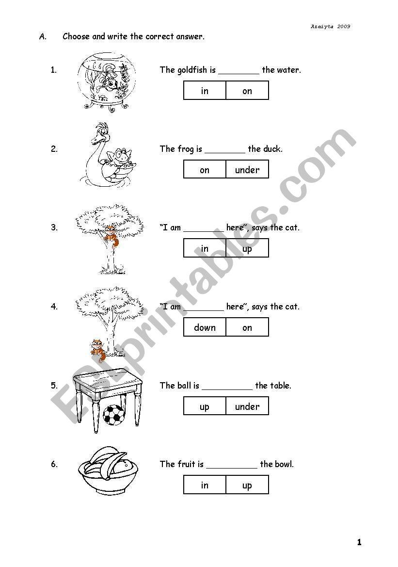English Worksheets Preposition