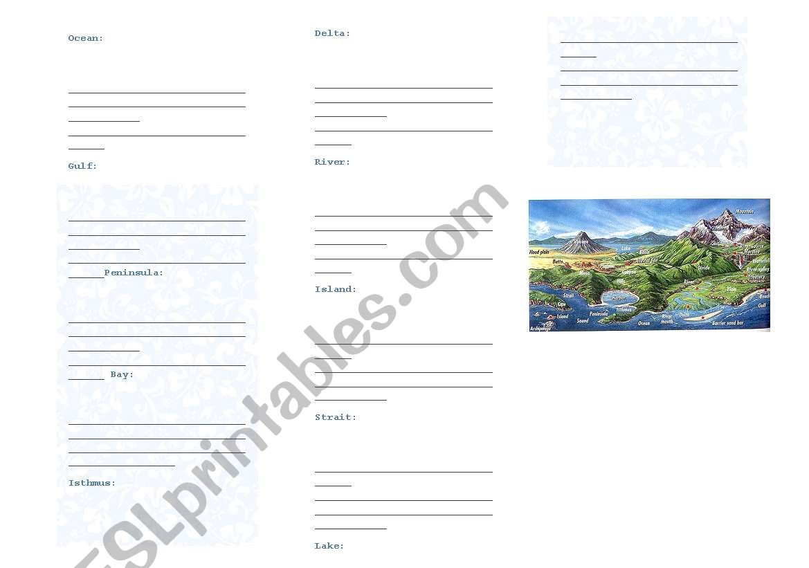 English Worksheets Landforms