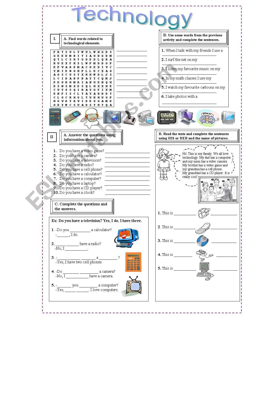Technology Worksheet Elementary