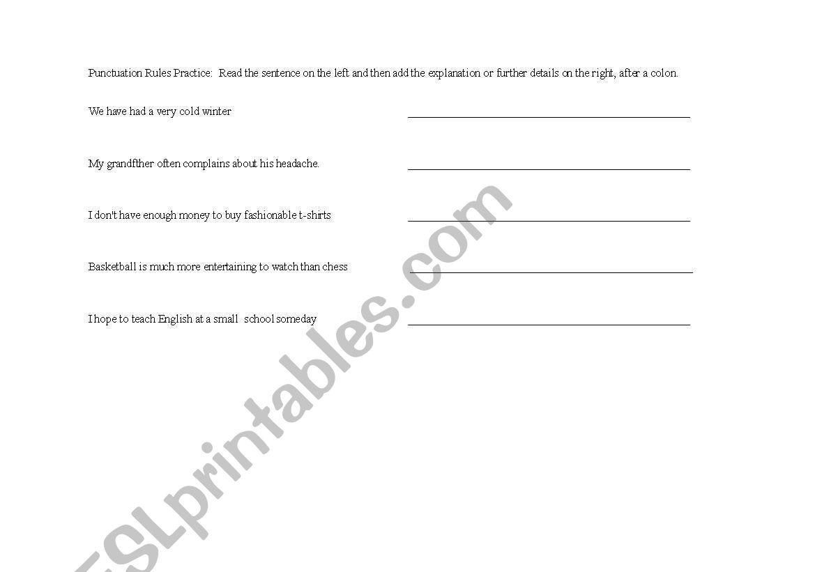 English Worksheets Colon
