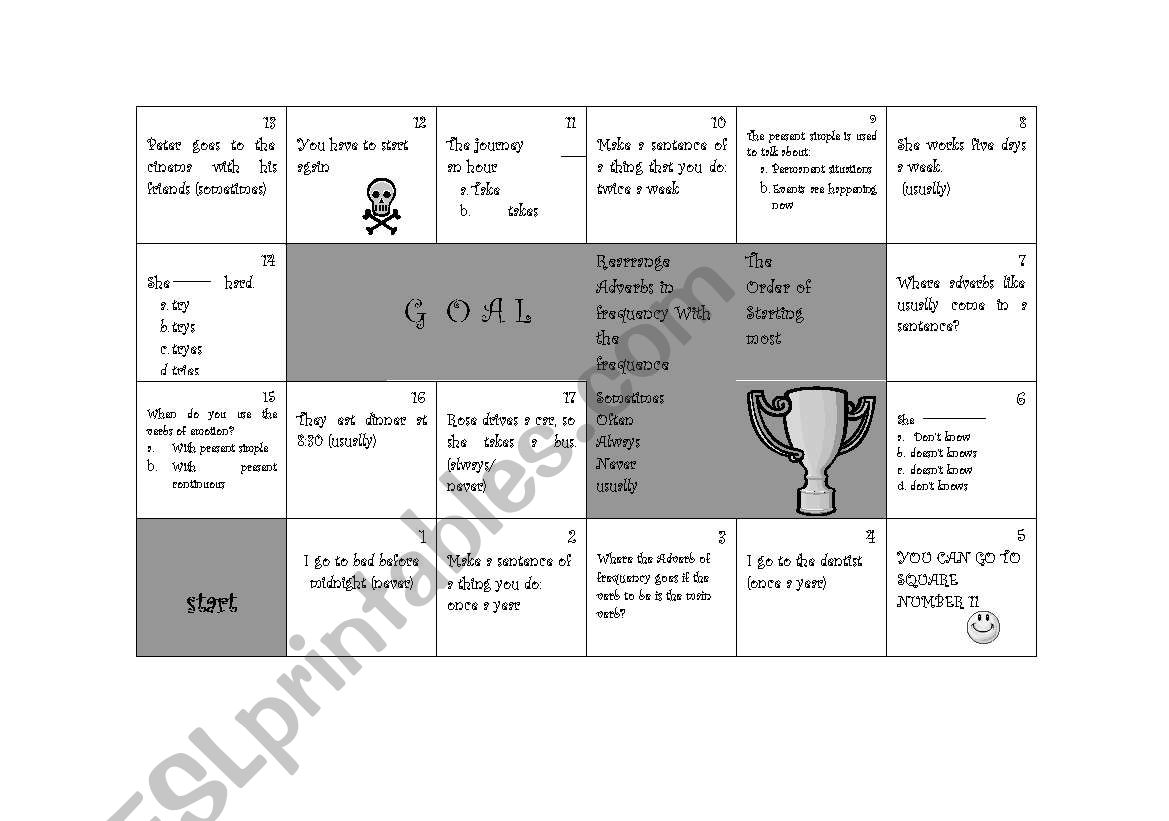 Adverbs Game Board