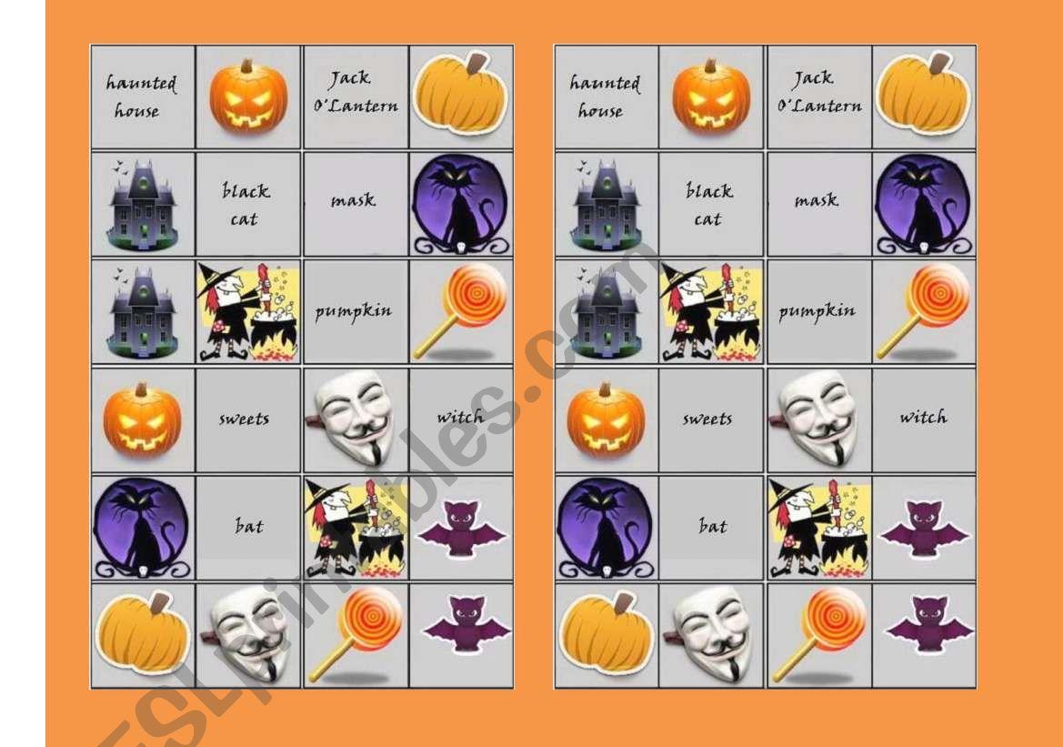 Halloween Dominoes With Words