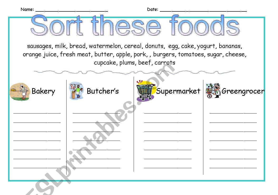 English Worksheets Sort These Foods