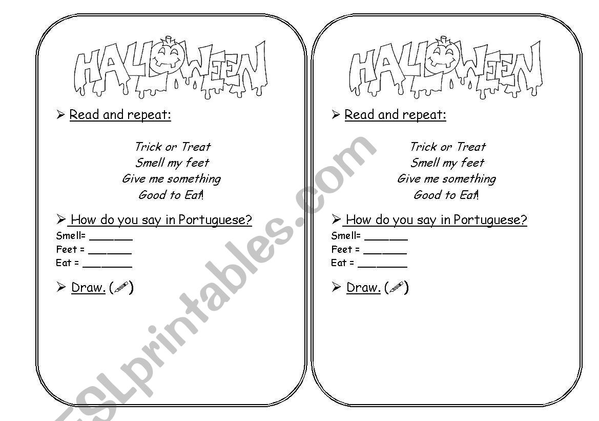English Worksheets Halloween Rhyme