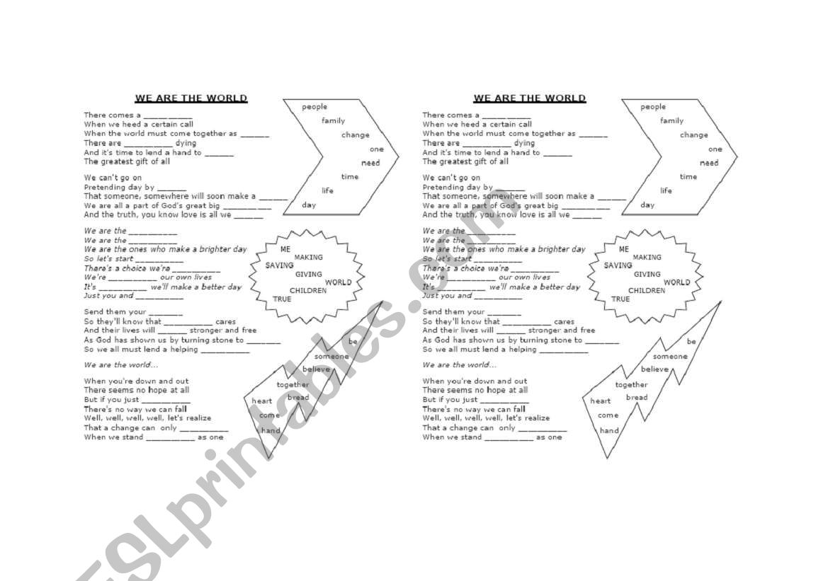 English Worksheets We Are The World Listening