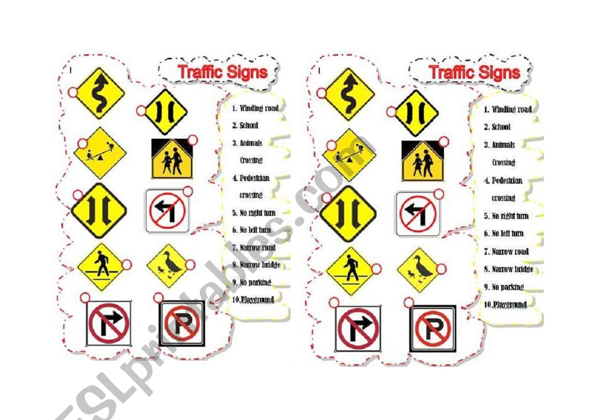 English Worksheets Traffic Signs