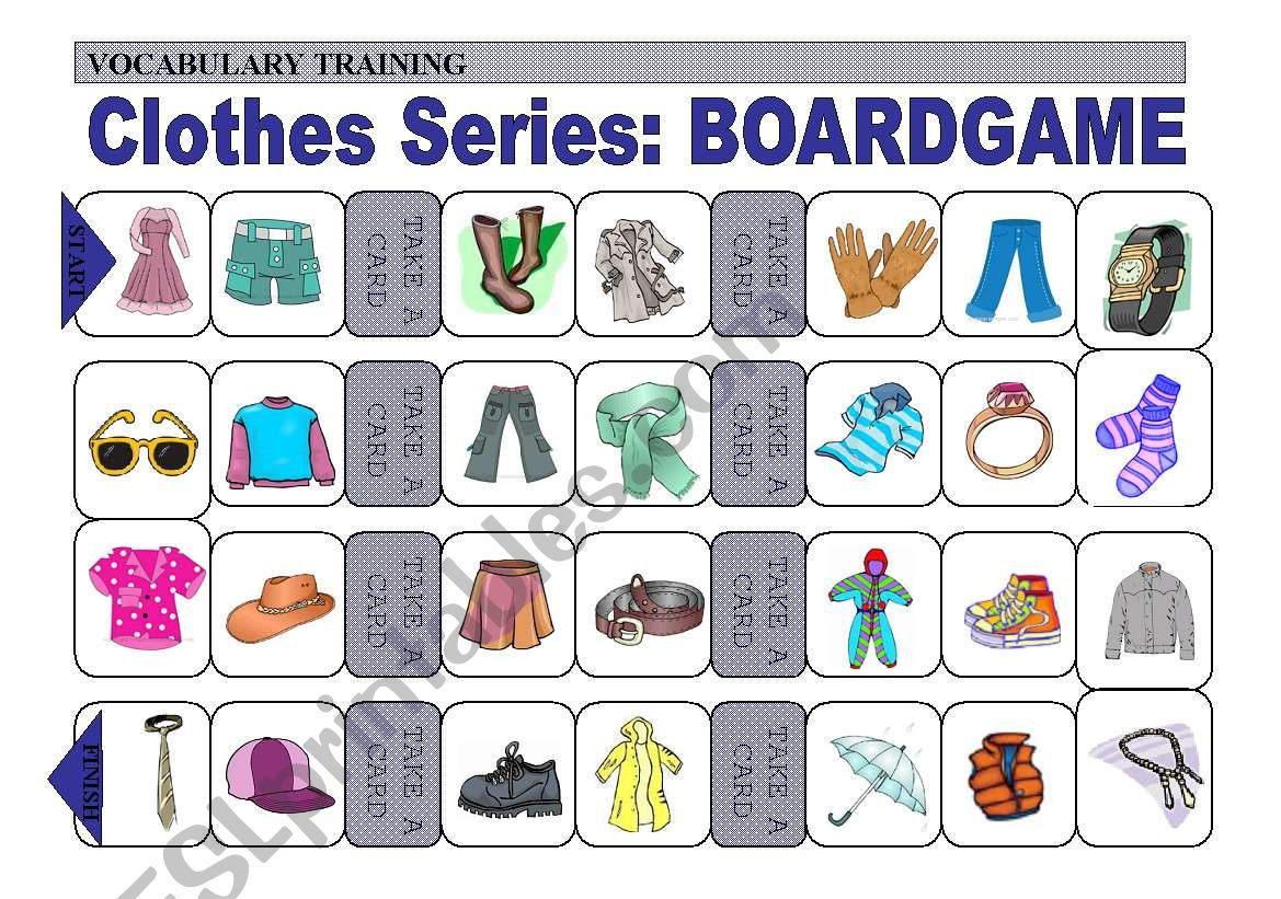Practice Of Clothes Vocabulary Boardgame 2 Of 4