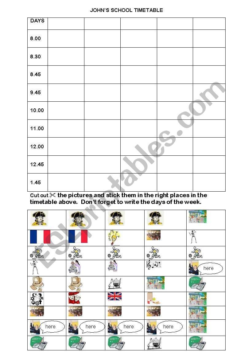 School Timetable Reading Activity