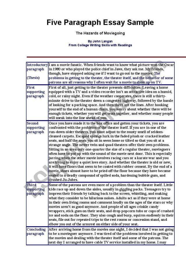 29 paragraph essay example - ESL worksheet by rakham