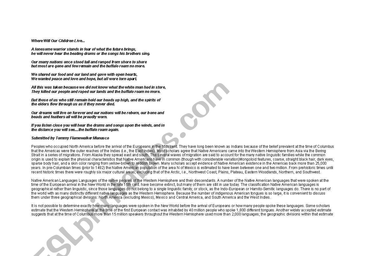English Worksheets Native Americans