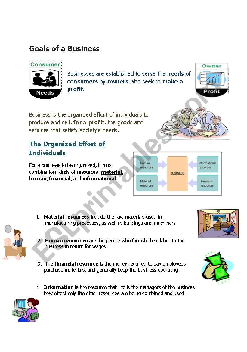 English Worksheets Introduction To Business