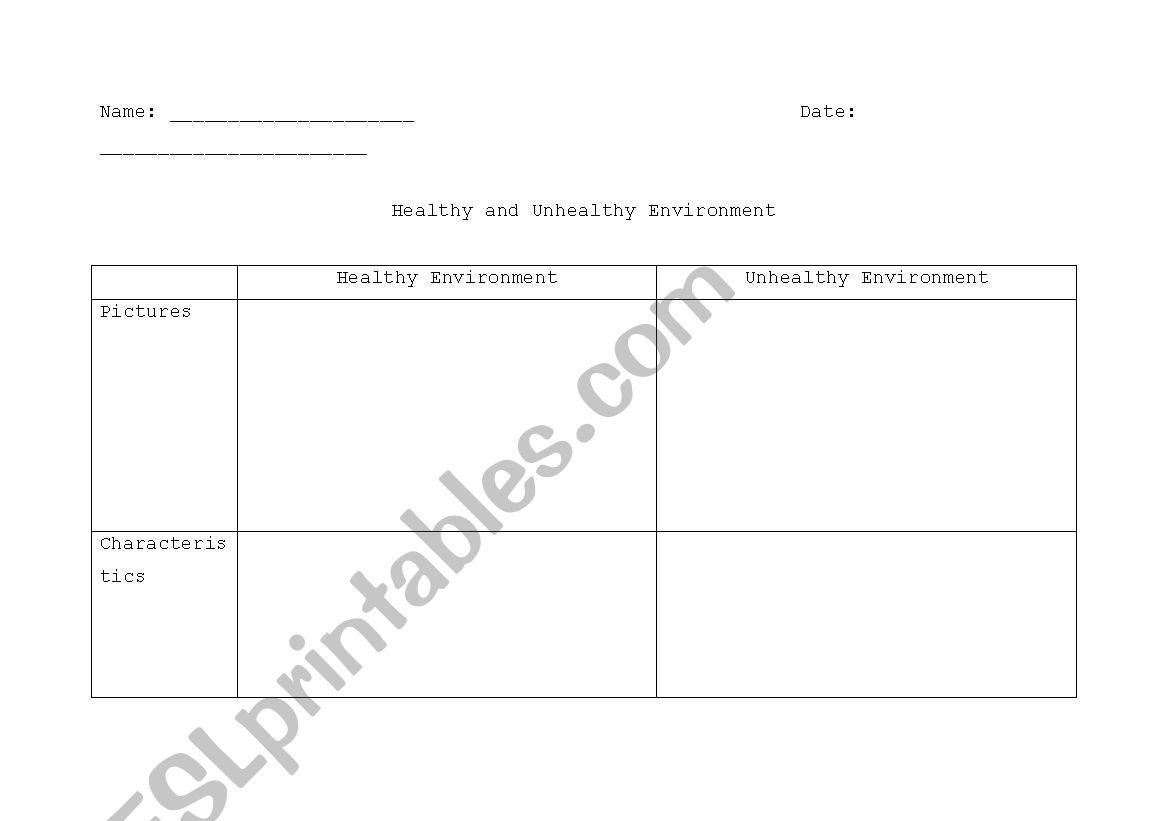 English Worksheets Healthy And Unhealthy Environment