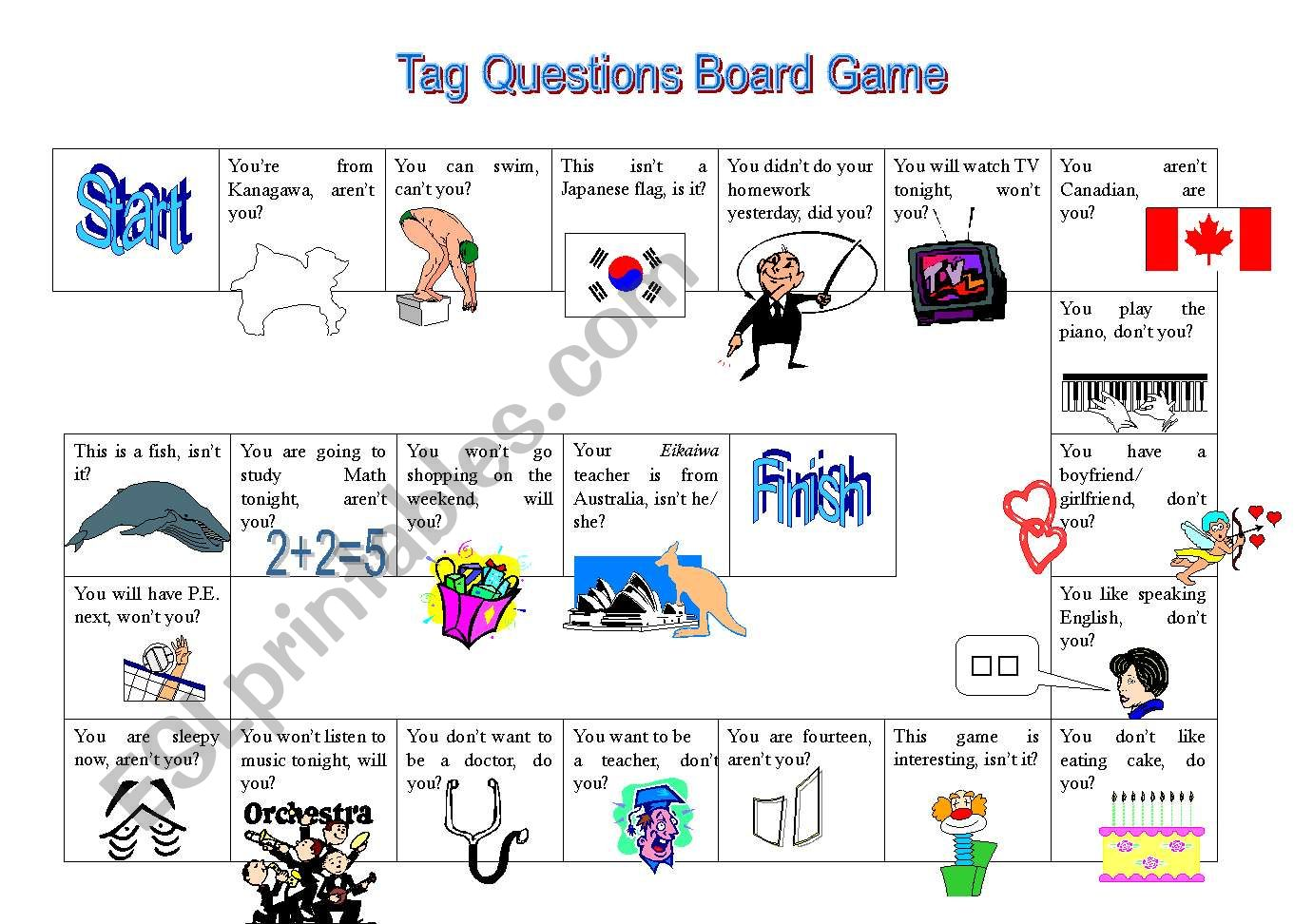 Tag Question Board Game