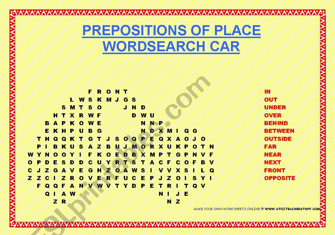 Prepositions Of Place Wordsearch In The Shape Of A Car
