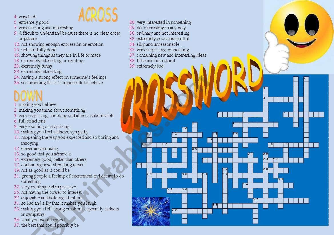 Adjectives Crossword