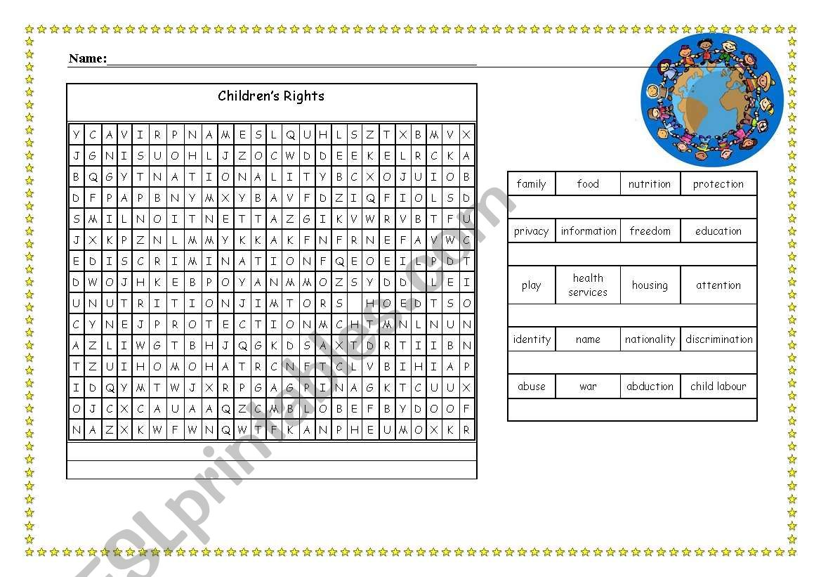 English Worksheets Children S Rights Wordsearch