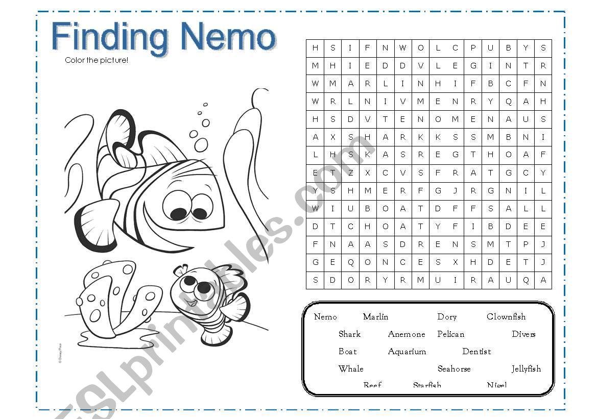 English Worksheets Finding Nemo