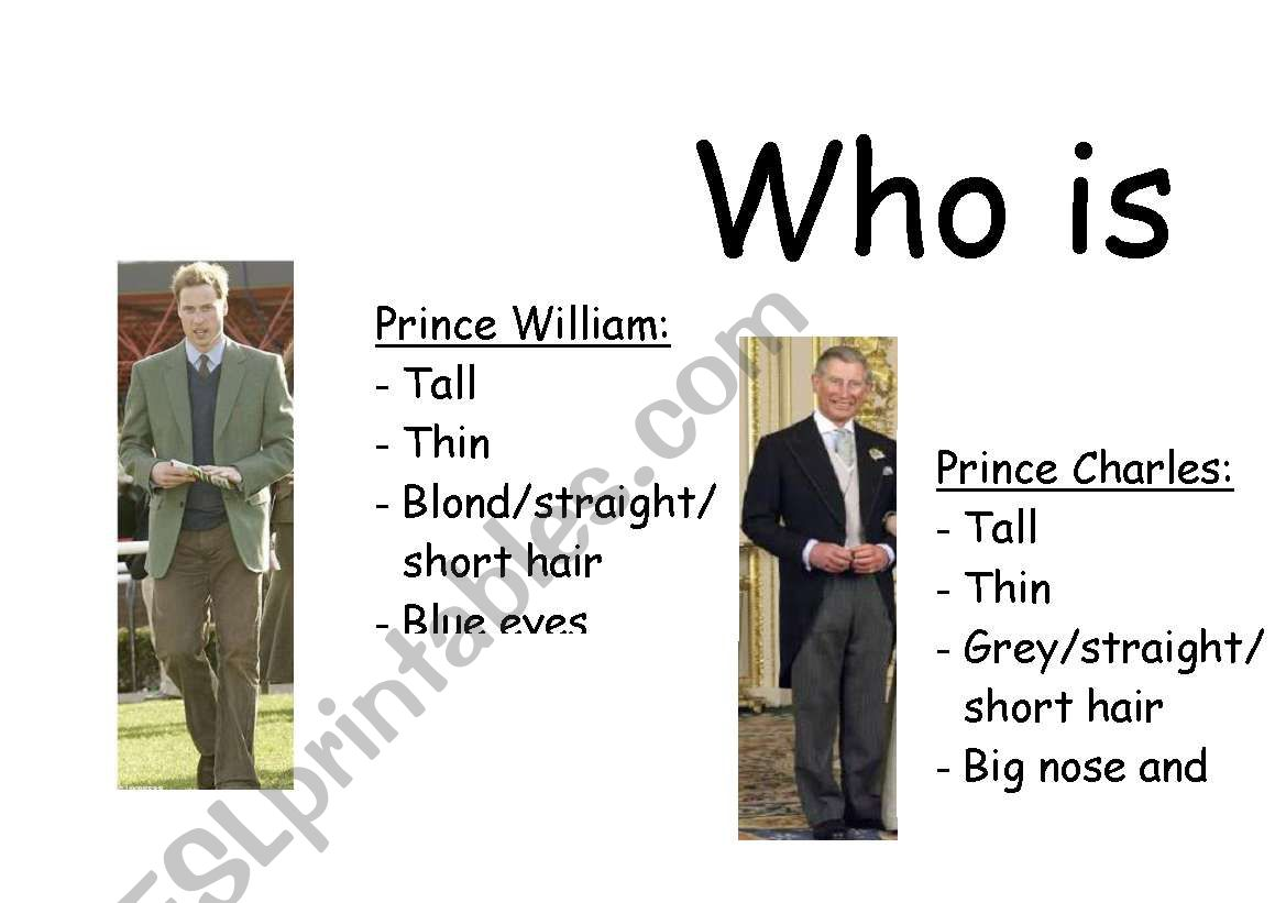 English Worksheets Who Is Who Game