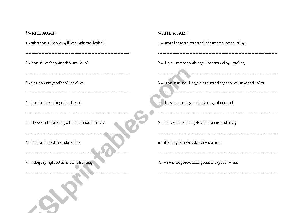 English Worksheets Using Like And Want