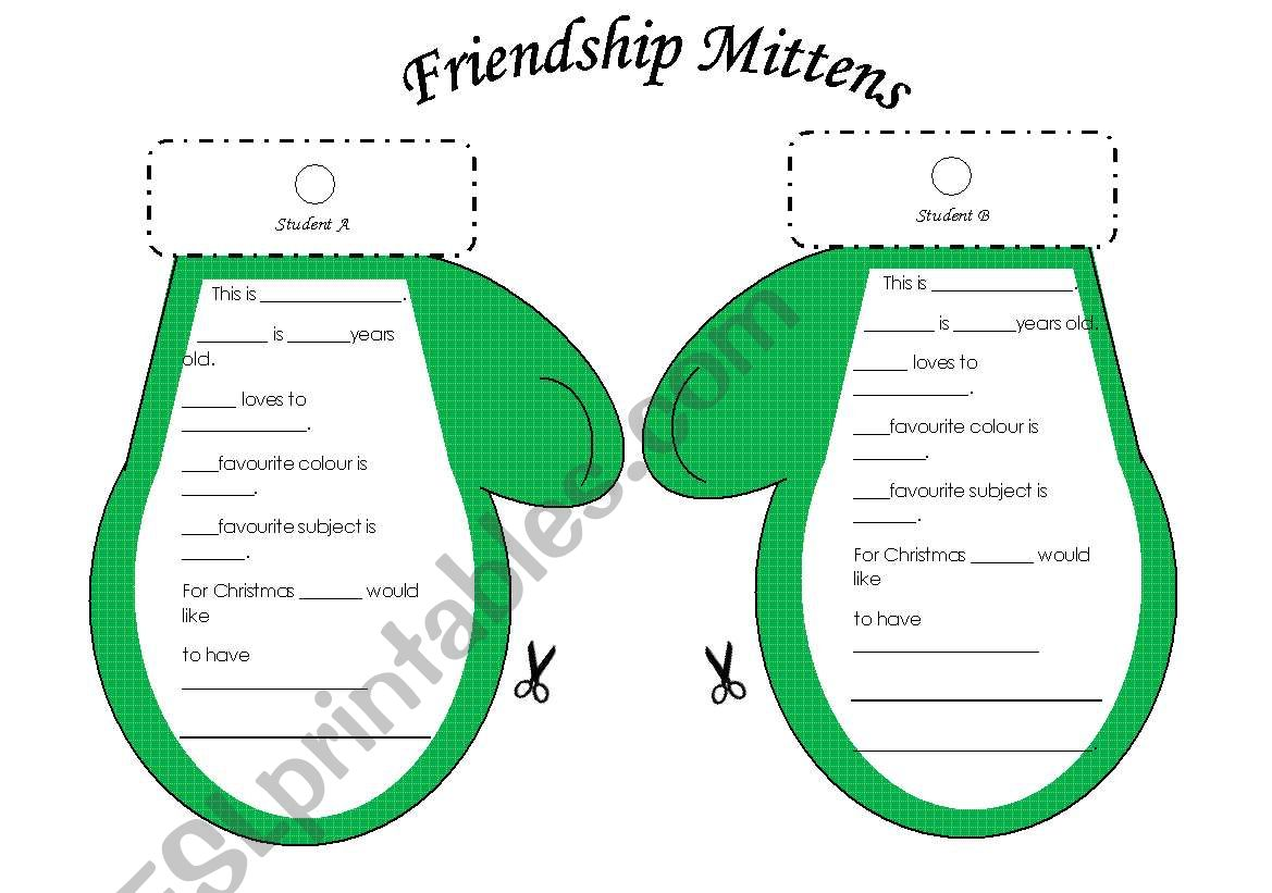 Christmas Friendship Mittens Student Interview Activity