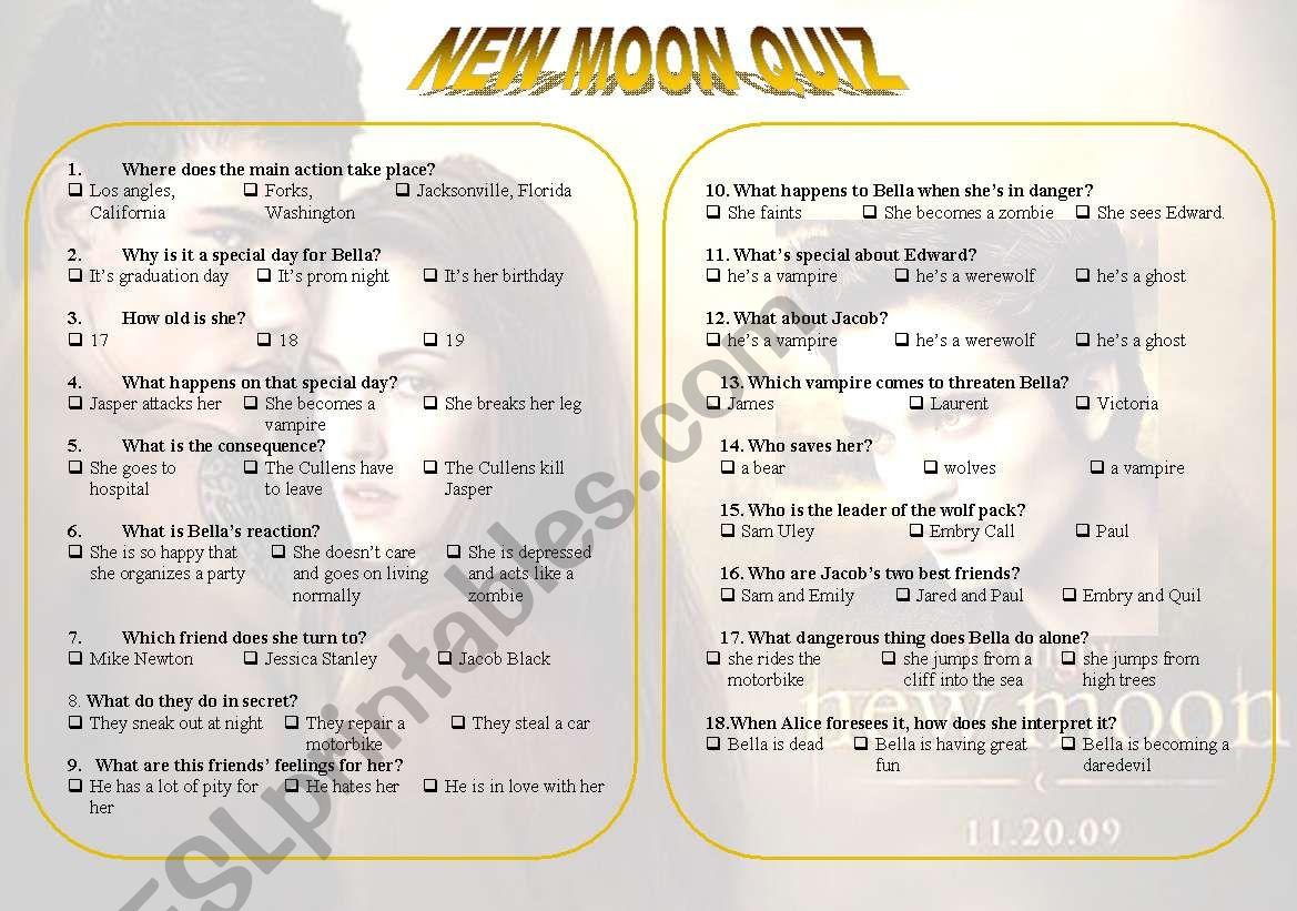 New Moon Movie Quiz