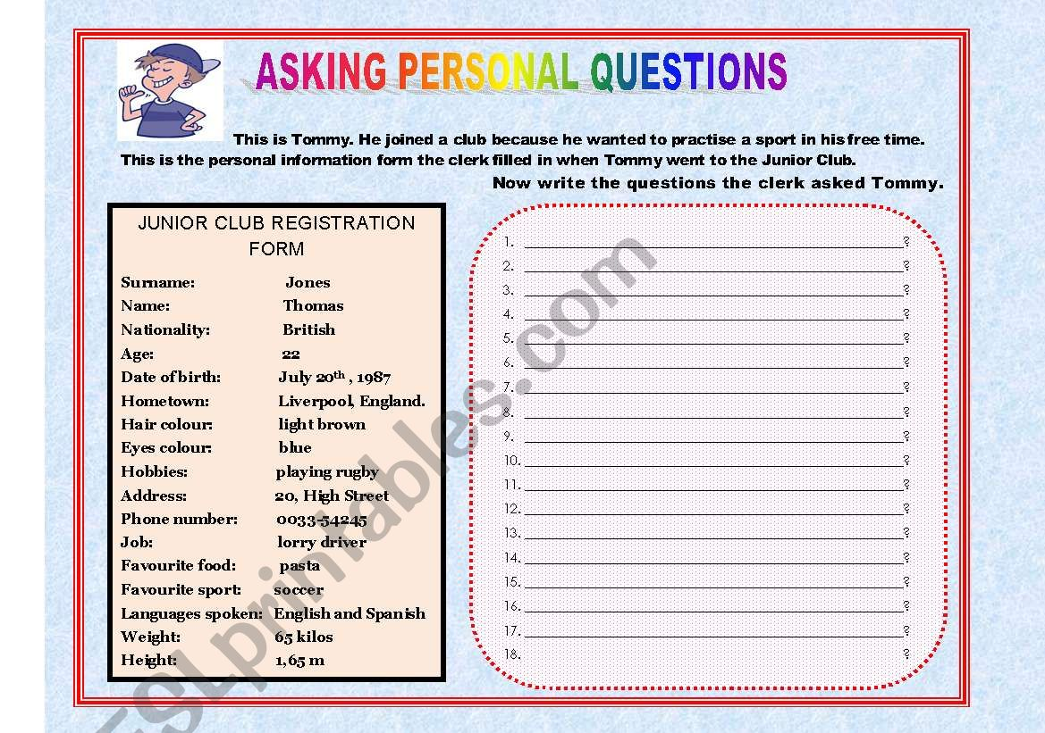 English Worksheets Asking Personal Questions
