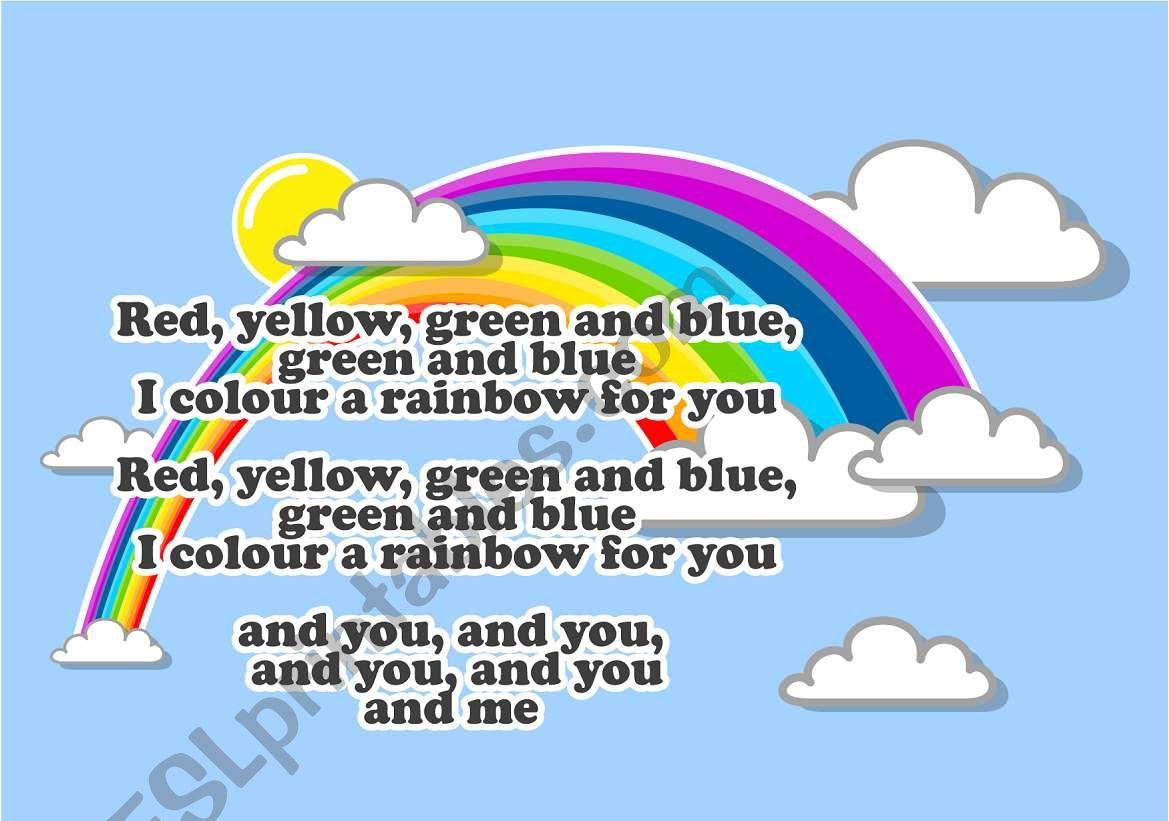 English Worksheets Rainbow Song