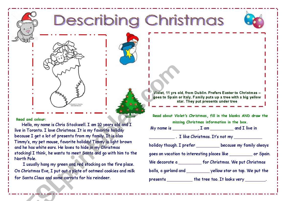 Christmas Describing 2 Page Activity