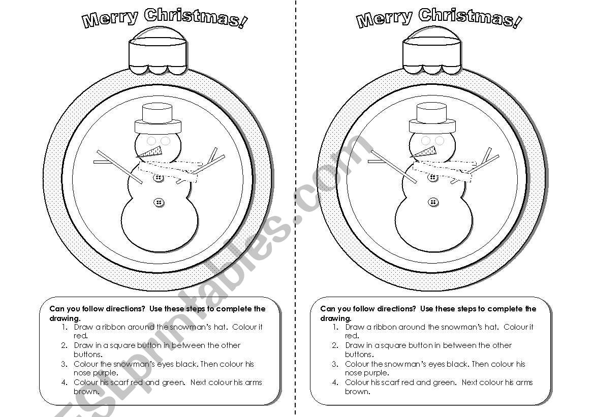 Christmas Snowman Activity For Following Instructions