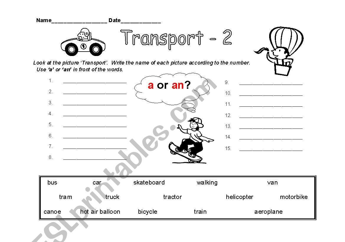 English Worksheets Transport Activity Sheet