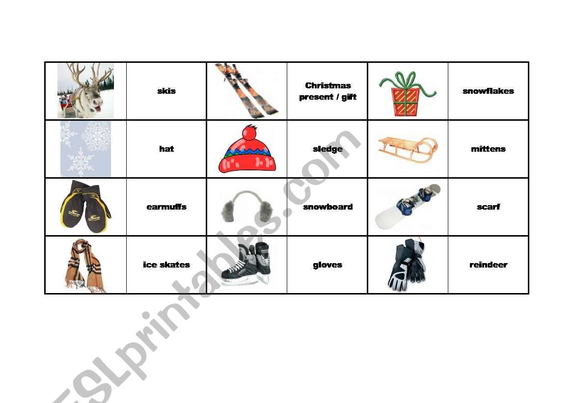 English Worksheets Winter Domino