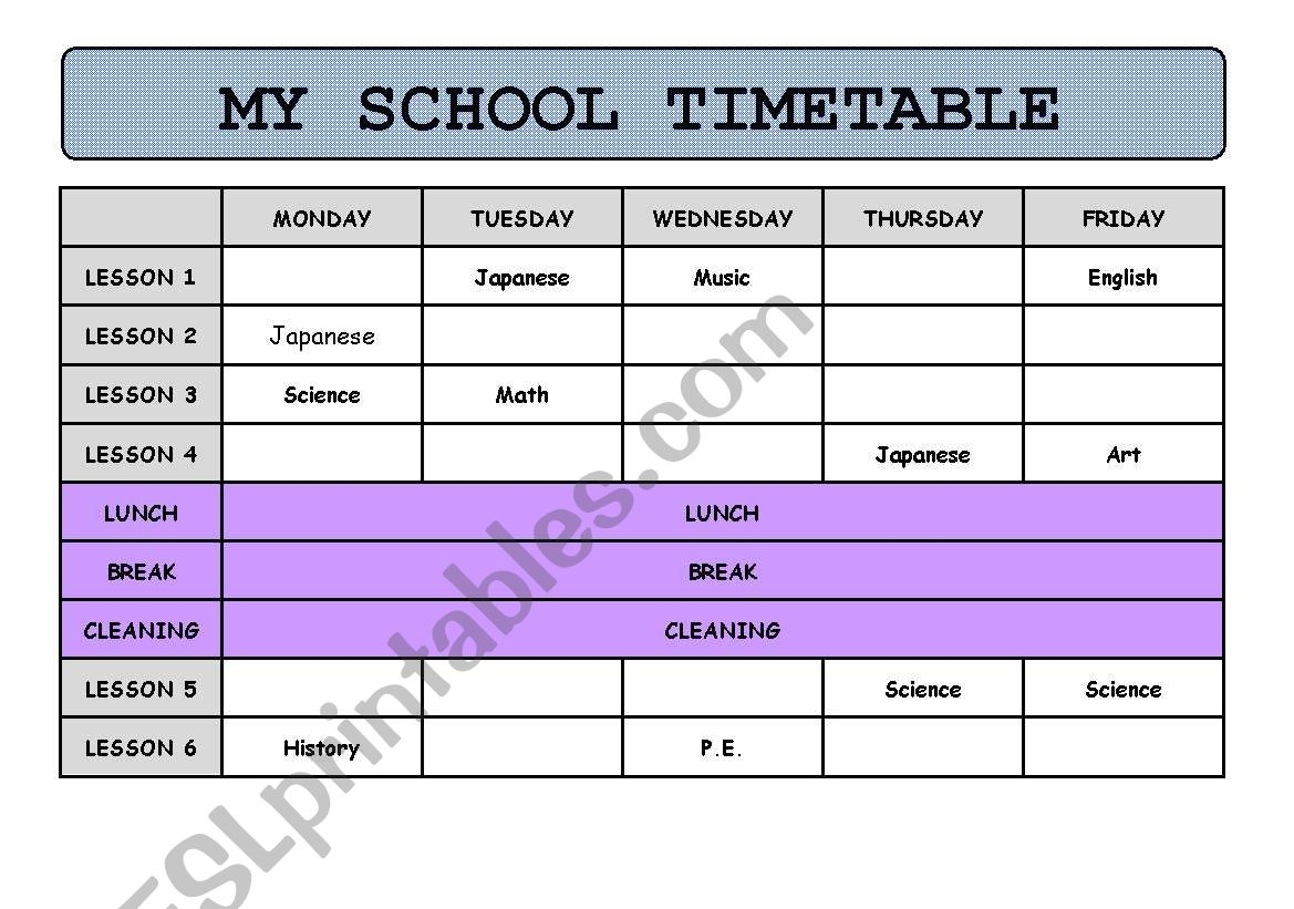 My School Timetable Information Gap Game