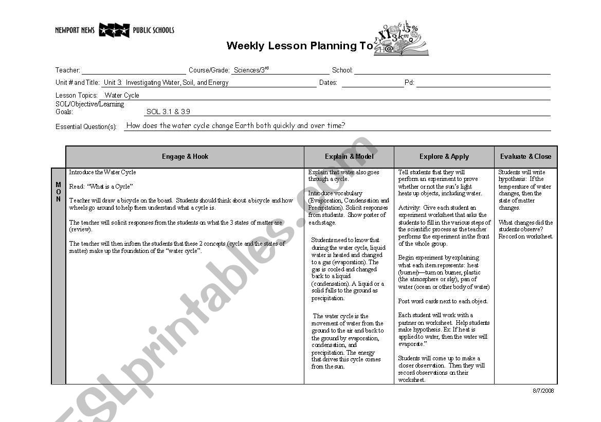 English Worksheets Water Cycle Lesson Plan With Esl