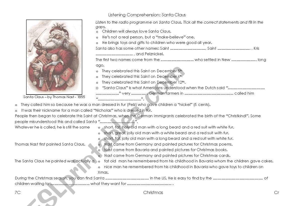 Santa Claus Listening Comprehension The Story Of Santa