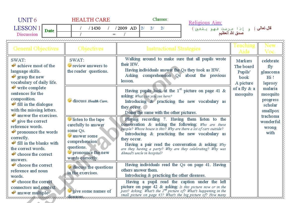 English Worksheets Health Care