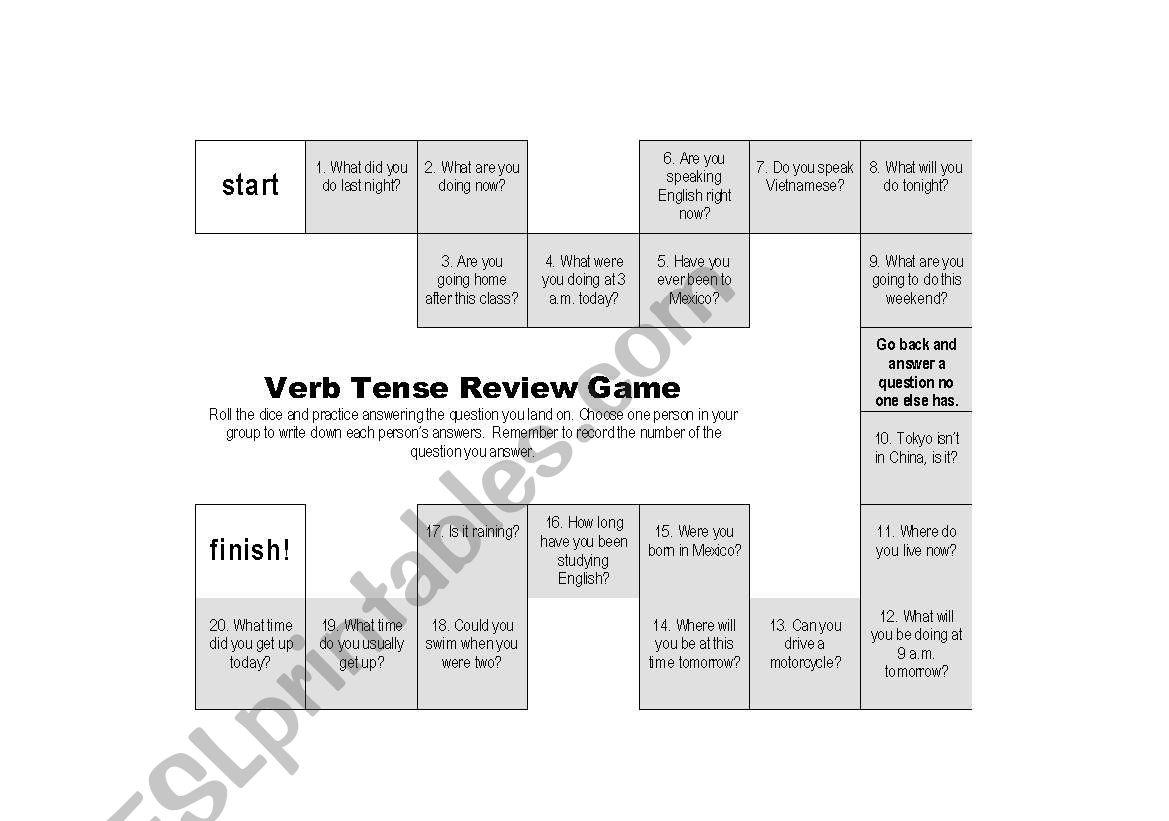 Verb Tense Review Game