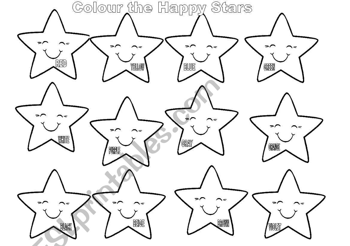English Worksheets The Happy Stars Identify The Colours