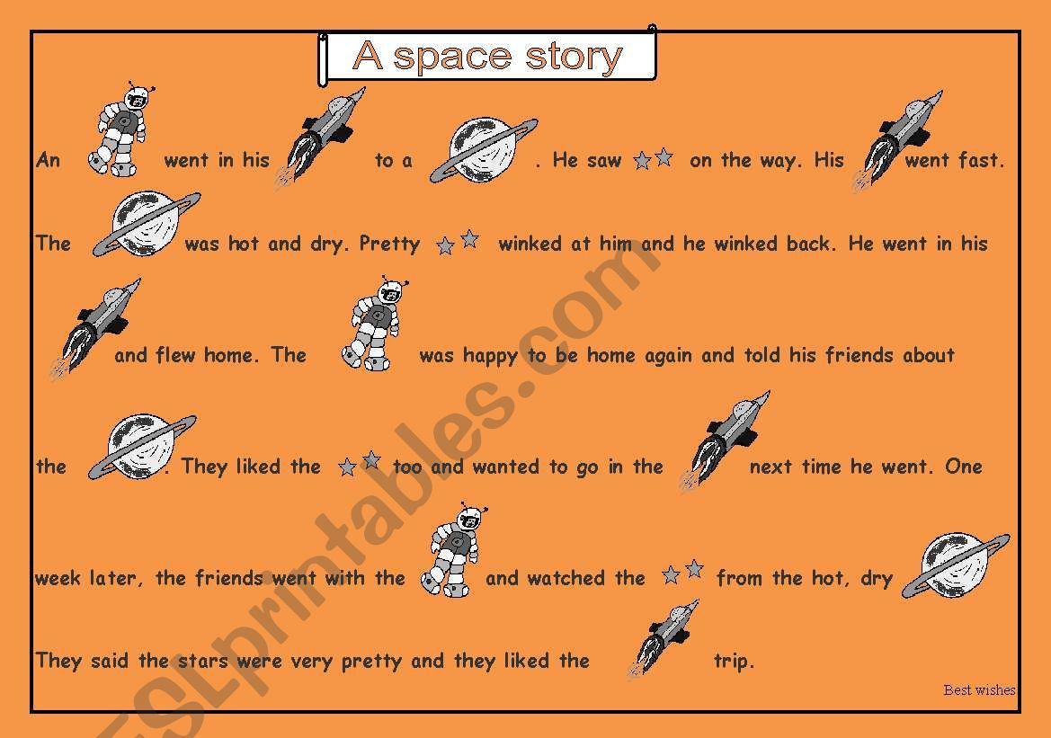 English Worksheets A Picture Story Space Story A Mix