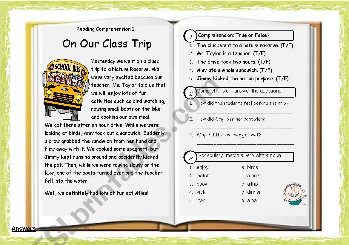 Reading Comprehension 01 On Our Class Trip Key