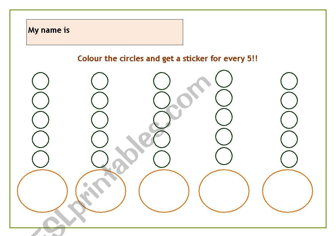 English Worksheets Reward Chart