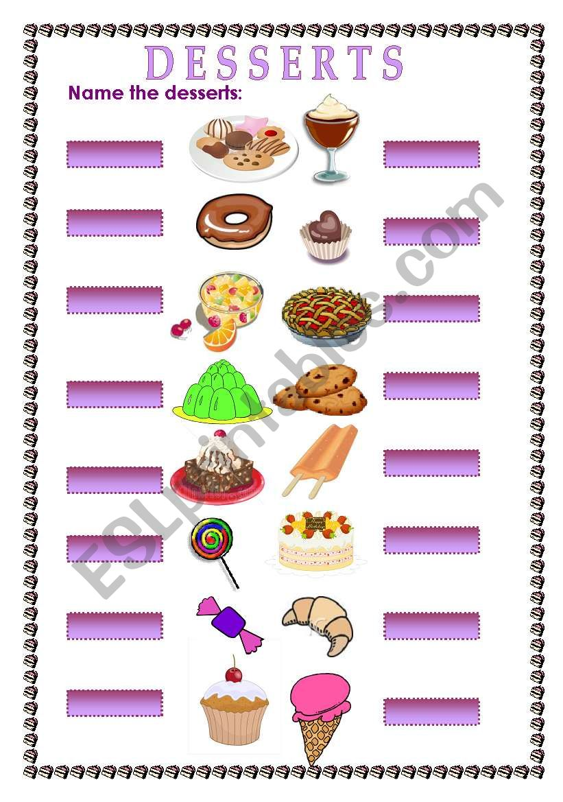 English Worksheets Name The Desserts