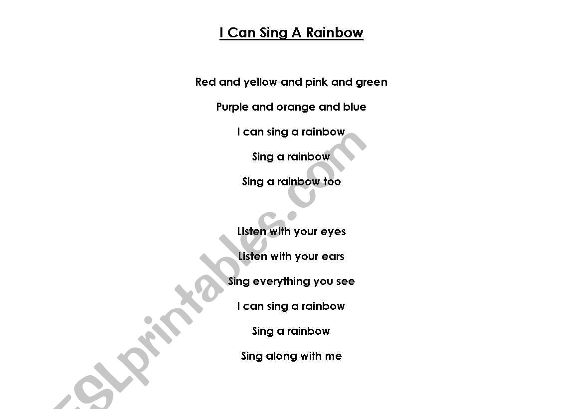 English Worksheets I Can Sing A Rainbow