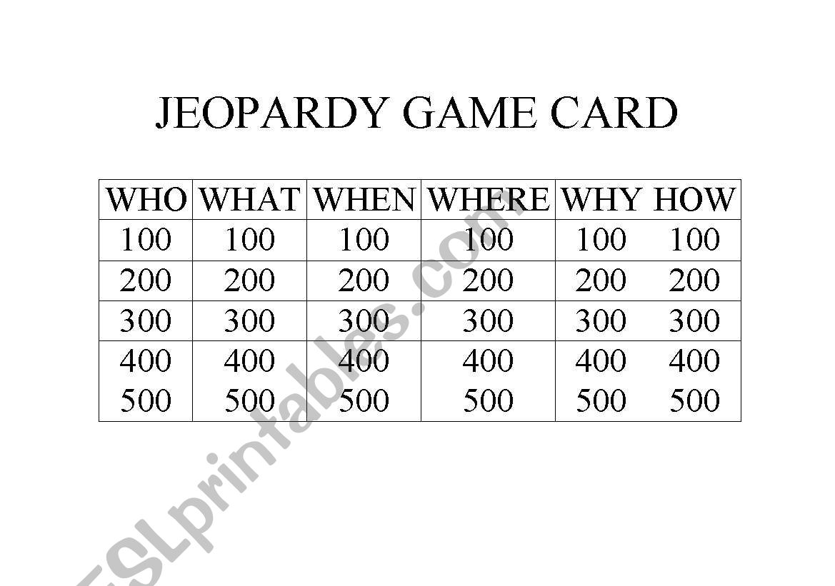 Jeopardy Game Card And Answers