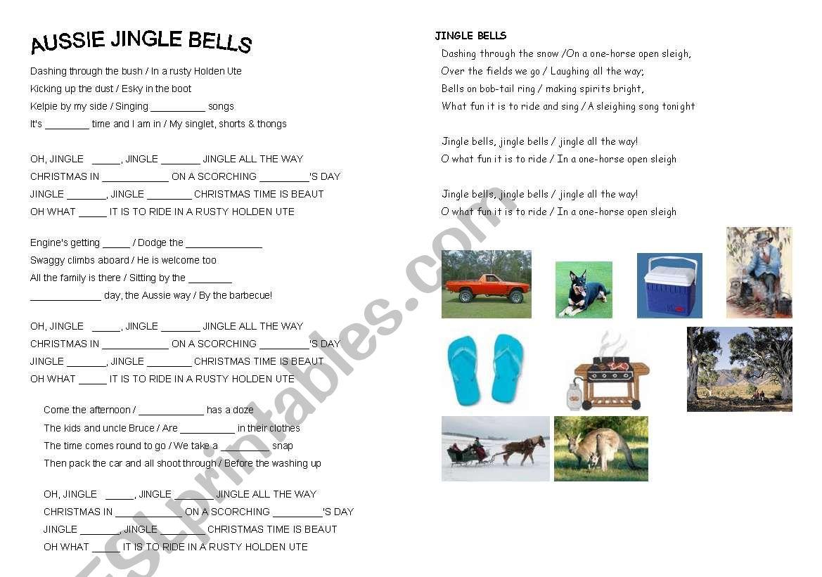 English Worksheets Aussie Jingle Bells