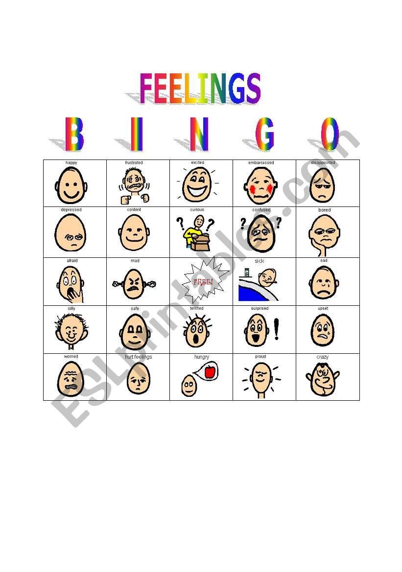 Feelings Bingo Game
