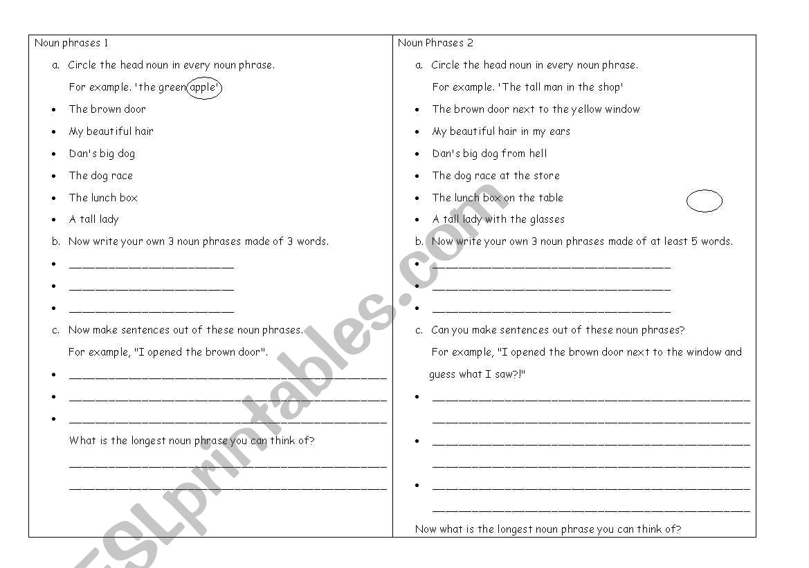 English Worksheets Noun Phrases