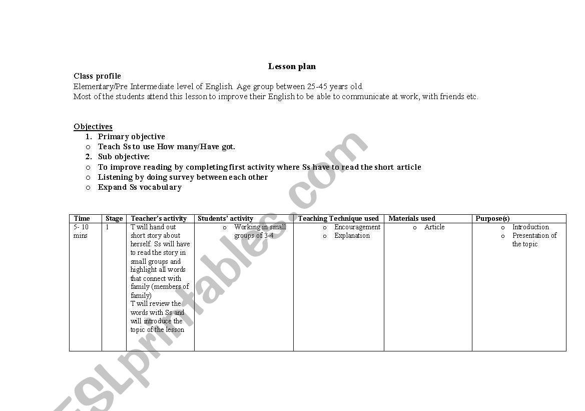 English Worksheets Family Lesson Plan