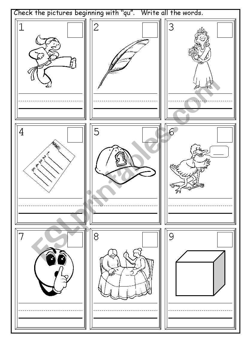 English Worksheets Phonics Qu