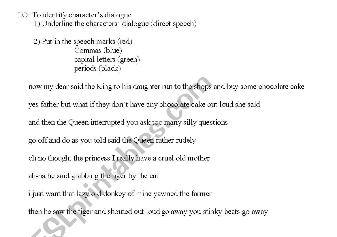 English Worksheets Speech Marks