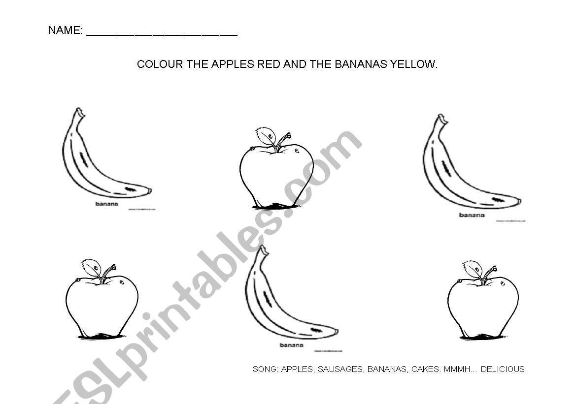 English Worksheets Apples And Bananas
